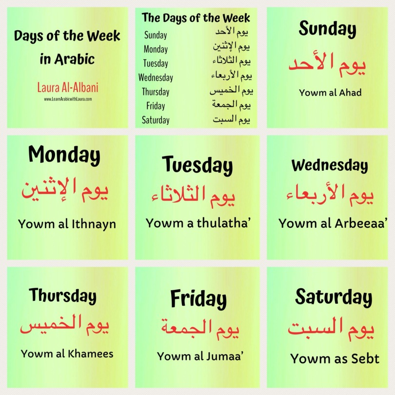 Learn the Days of the Week in Arabic! – Learn Arabic with Laura
